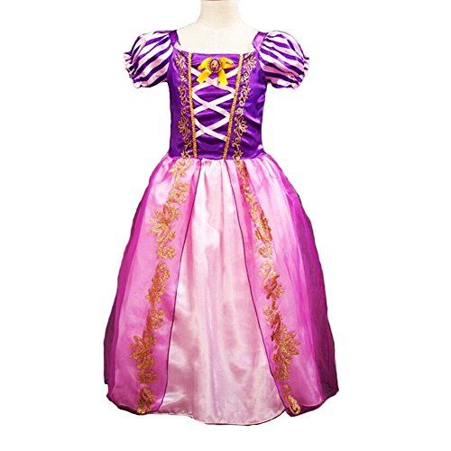 Little Girls principessa Rapunzel costume abito maniche a sbuffo, cosplay Halloween Birthday party Dress Fancy Dress