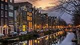 ClassicJP Puzzle Puzzle per Adulti Pezzi Notte nel Fiume di Amsterdam, Barche, Luci, Paesaggio per I Bambini Adulti 500 Piece