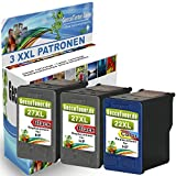 3er Set Druckerpatronen als Erstaz für HP 27 22 XL geeigent für OfficeJet 4300 Series 4352 5600 5615 5605 (2X schwarz &1x Farbe)