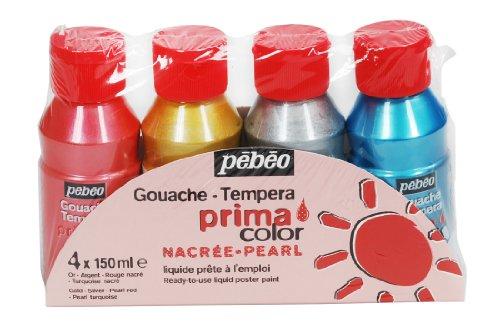 pebeo-55591-set-di-4-flaconi-di-tempera-primacolor-4-pz-da-150-ml-rosso-perlato-turchese-perlato-oro