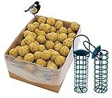 dobar 100 Meisenknödel Insekten mit Netz Inklusive 2 Gratis Meisenknödelhalter Zum Aufhängen, Wildvogelfutter Vogelfutter ganzjährig, 1er Pack (1 x 9 kg)