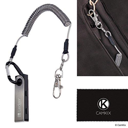 CAMKIX Schutzkabel für Ledger Nano S Bitcoin/Kryptowährung Wallet - Spiralkabel mit Karabiner und kleinem Clip Haken/Tether zum Schutz vor Verlust - schnell an Tragetasche, Schreibtisch, etc.