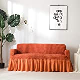 Icegrey Sofabezug Anti Rutsch Sofaüberwurf Sesselhussen Elastisch Sofaüberzug Möbelschutz Rüschen Orange Dreisitzer 170-230cm