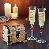 Geschenkset zur Hochzeit – 2 Sektgläser und Geld-Schatztruhe mit Gravur – Personalisiert mit [Namen] und [Datum] – Motiv Taube – Präsent zur Hochzeit – Geschenk für Paare -