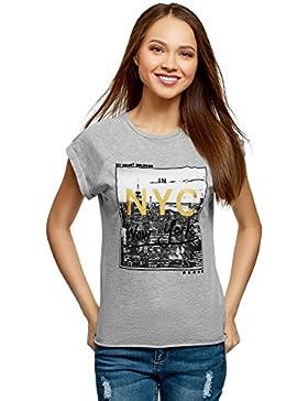 oodji Ultra Mujer Camiseta de Algodón con Estampado Urbano sin Etiqueta y Borde No Elaborado