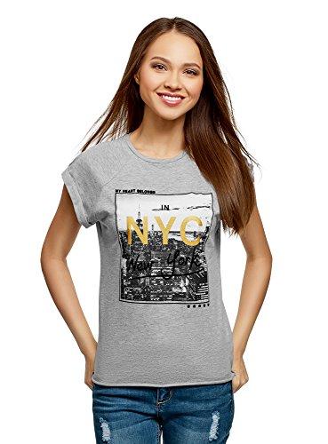 oodji Ultra Damen Baumwoll-T-Shirt mit City-Print und Unbearbeitetem Saum, Grau, DE 38 / EU 40 / M