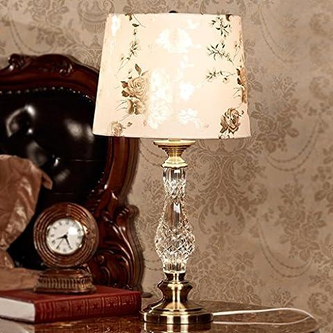 HYNH lámpara de mesa lámpara de noche americana dormitorio de la lámpara de mesa de cristal decorativa de la lámpara de lujo moderna sala de estar de moda europea creativa (interruptor de botón, interruptor de luces) Lámpara de mesa para niños ( Color : Regulador de intensidad )