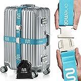 OneMate ® Koffergurt-Set mit Metallschnalle (für 2 Koffer) – Unfassbar robuster Gepäckgurt für 100% sichere Reisen | GRATIS Samtbeutel & Zufriedenheitsgarantie