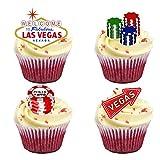16Stand up Las Vegas Mottoparty Premium Essbar Wafer Papier Kuchen Topper Dekorationen