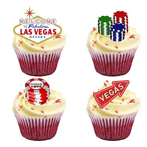 Top That Kuchendekorationen zum Aufstellen, essbares Oblatenpapier, Design: Las Vegas, Premium Tortenaufsatz-Dekorationen, 16 Stück