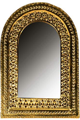 Orient Spiegel Wandspiegel Khaoula 35cm Gold Messing | Großer Marokkanischer Flurspiegel Messingrahmen orientalisch verziert | Orientalischer Vintage Badspiegel ohne Beleuchtung | Orientalische Deko - Messing Wand Spiegel