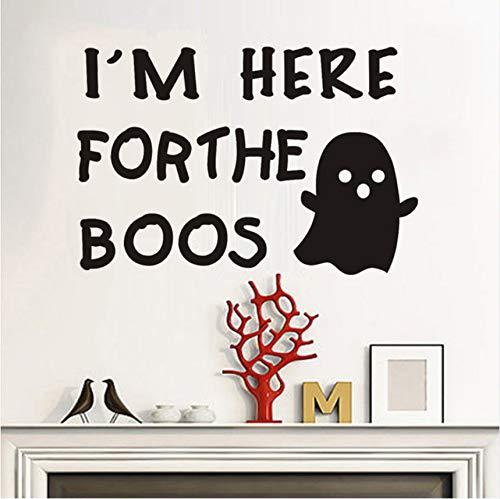 Fyyanm Ich Bin Hier Für Die Boos Inspirierend Zitat Wandaufkleber Halloween Fenster Aufkleber Abnehmbare Vinyl Wandtattoos Für Kinderzimmer 59X40 cm