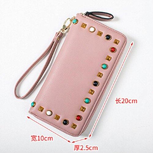 Longra moda donne molto stile colorato gemstone rivetti, borsa, breve lampo, diagonale in borsa, portafoglio, borsa piccola Rosa