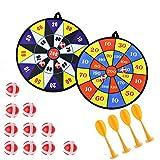 Queta - Set di 2 Freccette in Tessuto Sicuro per Bambini, con 10 Palline adesive e 4 Freccette di Sicurezza autoadesive, per Sport Interni ed Esterni