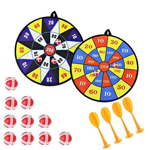 Queta Kids Safe Fabric Dart Board Game Set mit 10 Sticky Balls 4 Safety Darts Selbstklebende Zielscheibe Sport Indoor Outdoor Wurfspiel für Kinder Sicherheit Spielzeug Set 2 Stück