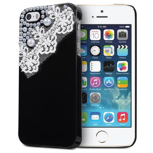 Fosmon GEM-LACE Series 3D Bling Lace Design Hard Case Back Cover für Apple iPhone 5 / 5s / SE - Fosmon Retail Packaging - Schwarz Schwarz