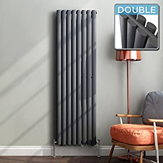 iBathUK | 1600 x 480 mm Vertical Column Radiator Anthracite Oval Double Panel