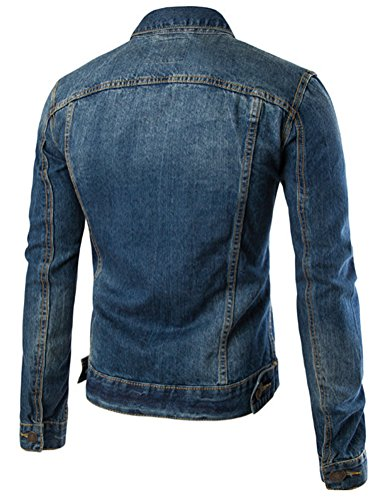 Brinny Hommes Veste en jean Outwear Homme Denim Jacket Blouson Bleu foncé