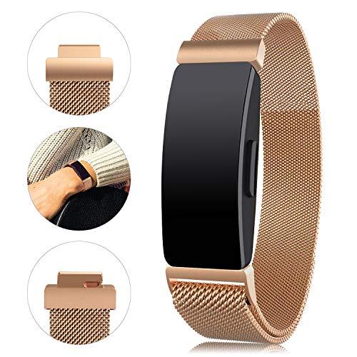 "Onedream Compatible pour Fitbit Inspire & Inspire HR Bracelet Femme Homme Sport Metal Band (Or Rose, S 5.5""- 8.5"")"