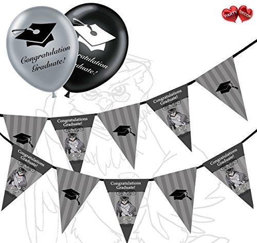 Gratulation Graduate Bundle Von Eulen und Mützen Wimpelkette Banner 15Flaggen und 10Silber und Schwarz 27,9cm Latex Luftballons Perfekte für die Graduierung Celebration Party von Party Decor