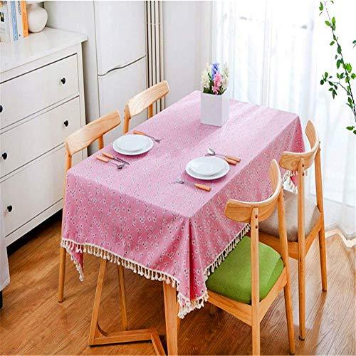 SONGHJ Blumenmuster Fransen Dekorative Tischdecke Gartentischdecke Picknick Party Baumwolle Leinen Tischdecke Rechteckige Heimtextilien D 140x180cm (Dollar Store Tischdecken)