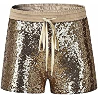 Womens Ladies Retro Training Fitness Sequins Sexy Shorts Pants Wide Waistband Hidden Pocket by Quistal