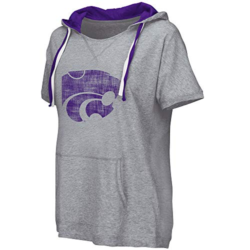 Colosseum NCAA Damen T-Shirt mit Kapuze, kurzärmelig, Damen, Kansas State University Wildcats, Small Kansas State University