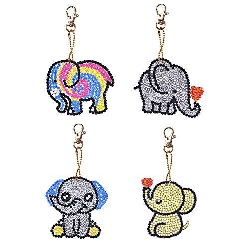 Seawang 4 Teile/Satz Schlüsselanhänger Anhänger DIY DIY Diamant Malerei Cartoon Elefant Harz Tasche Keychain Schmuck (Spaß Licht Keychain)