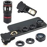 Hunye 4in1 Objektiv Kamera Zubehör: universelles Teleobjektiv 10-fach Zoom Teleskop Weitwinkel-, Fischauge- und Makro-Objektiv Linse für iPhone 4 4S 5 5S 6 iPad, Samsung Galaxy S3 Mini, S4, S5 ect., schwarz