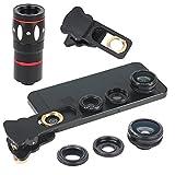 Geschenkidee  - Hunye 4in1 Objektiv Kamera Zubehör: universelles Teleobjektiv 10-fach Zoom Teleskop Weitwinkel-, Fischauge- und Makro-Objektiv Linse für iPhone 4 4S 5 5S 6 iPad, Samsung Galaxy S3 Mini, S4, S5 ect., schwarz