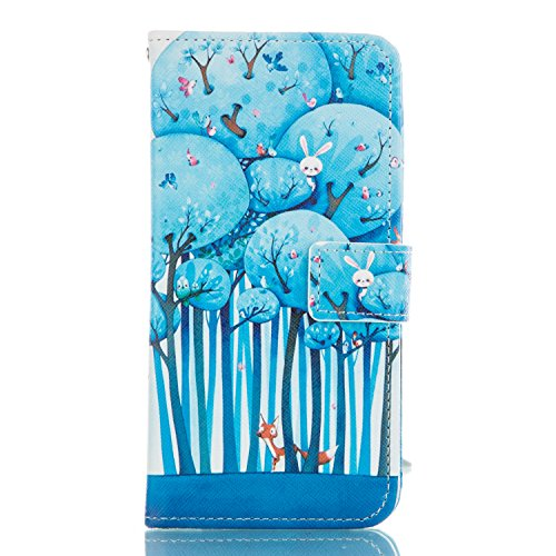 Etche Coque pour iPhone 5C,PU Cuir Portefeuille Housse de Protection Wallet Cover Flip Case avec Stand Support pour iPhone 5C,Luxe élégant chats mignons léopard fleurs arbres feux d'artifice design Cu forêt