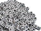 250 Buchstabenperlen Würfel, weiß 6,5mm, Großlochperle, Perlen basteln