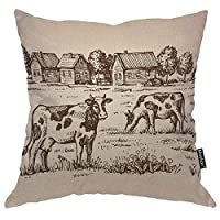 "Bozh Cow Throw Pillow Cover Farm Village Landscape House Countryside Animal Rustic Tree Nature 18x18 Inch Square Pillow Case Cushion Cover For Home Car Decorative Cotton Linen 16"" X 16""(IN)"