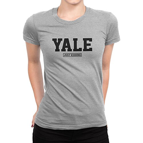 Planet Nerd Yale Just Kidding - Damen T-Shirt, Größe S, grau meliert