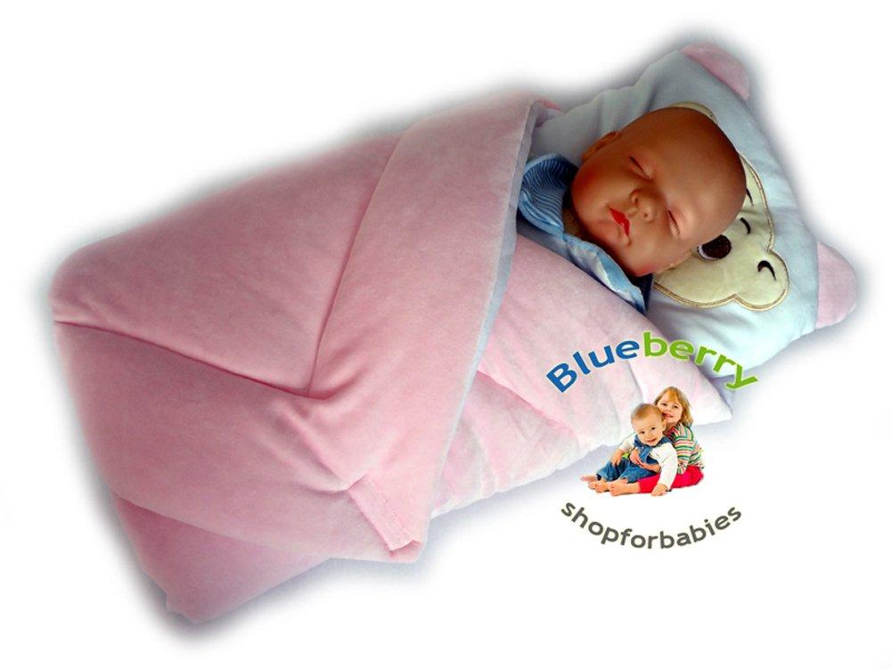 BlueberryShop manta de terciopelo con almohada Saco de dormir para bebés recién nacidos | Regalo perfecto para Baby Shower | Para bebés de 0-3 meses | 78 x 78 cm