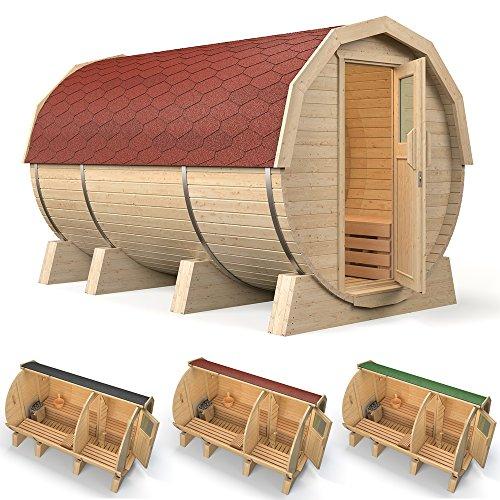 """ISIDOR Fasssauna """"M3 Premium"""" mit Vorraum, gebaut aus Espenholz (grüne Dachschindeln)"""