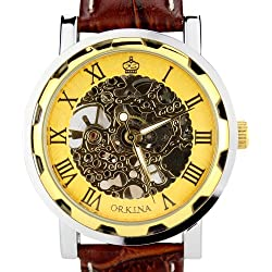 Orkina Mens Gold Color Skeleton Mechanical Dial Leather Strap Fashion Wrist Watch