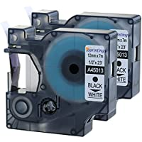 2 Pack Equivalent to DYMO D1 45013 S0720530 12mm x 7m Black on White Standard Label Tape Compatible with DYMO LabelManager 160 210D 260P 280 360D 420P 450 PnP DYMO LabelPoint 250