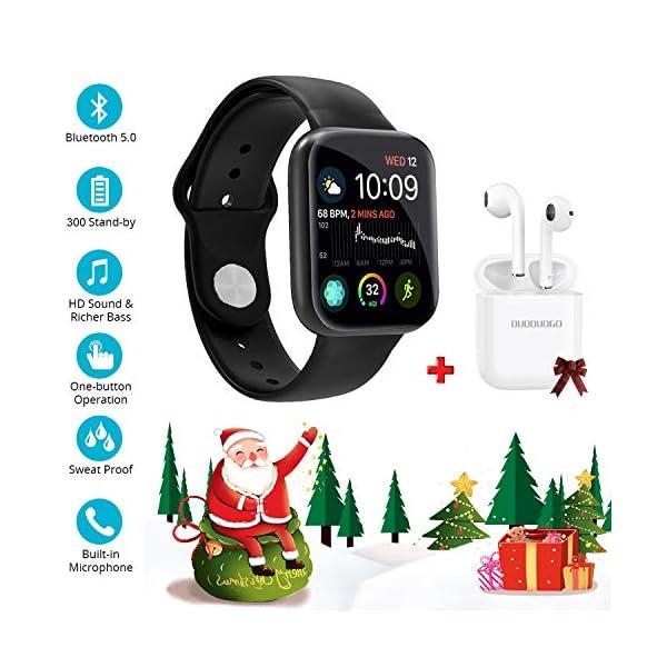 Smartwatch Reloj Resistente Hombre Mujer Niños Monitor Pulso Cardiaco Pulsera Actividad Reloj Inteligente Cardio Podómetro Bluetooth Reloj Deportivo Rastreadores Cronómetro para Android iOS(Negro) 1