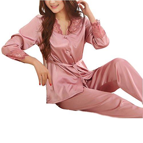 Mme WS @ WX1023 à Manches Longues Pyjama De Soie redbeanpaste