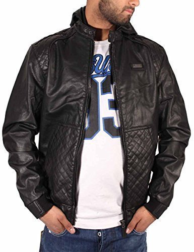 ecko-mens-boys-college-varsity-bomber-bikers-faux-leather-hooded-black-jacket-m