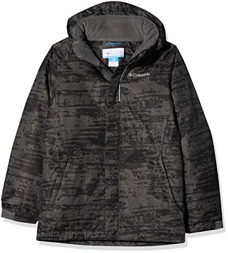 Columbia Wasserdichte Winterjacke für Jungen, Twist Tip Jacket, Nylon, Grau (Grill Grain Print), Gr. S, 1560731 (Columbia-jacke Mädchen Grau)