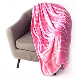 Flannel Super Soft Super Luxurious Positive Energy Cure Square Blanket by ShinideHBin (Pink)