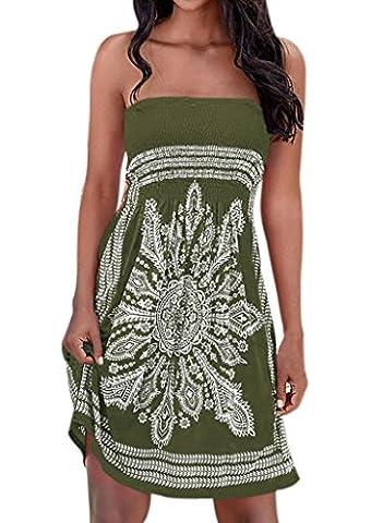 Nergivep Women's bohemian chic dresses Strapless Floral Print Bohemian Dress Casual Mini Beach Dresses M