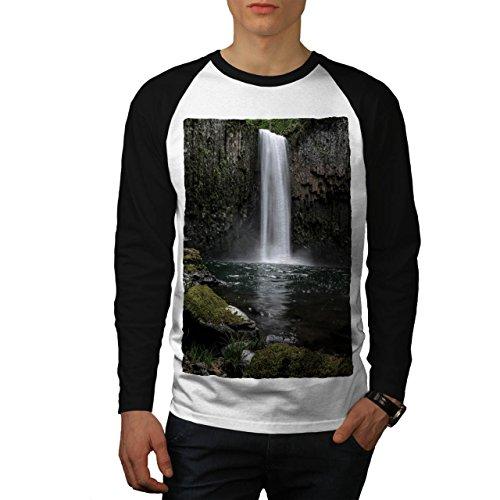 Wasserfall Foto Natur Hügel Fluss Men M Baseball LS T-shirt | Wellcoda (Fluss-baseball-jersey)