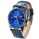 DOGZI Herren Armbanduhr, Unisex Uhren Sport Uhr Luxus Armbanduhren - Mode Krokodil Faux Leder Analog Uhr Armbanduhren (Blau)