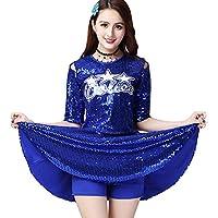 a2b67fff2b9d Huatime Cheerleading Dance Costume Women - Ladies Sequins Modern Jazz Top  Skirt Set High School Uniforms