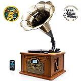 Lauson Rétro Bluetooth Gramophone avec Fonction d'encodage, Vintage Design Wood Couleur Trumpet Turntable avec Haut-parleurs intégrés, Radio, CD, USB, MP3, 3 Vitesses (33/45/78 RPM), CL147