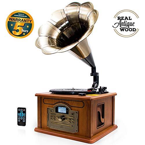 LAUSON CL147 Grammophon Plattenspieler Bluetooth | Nostalgie Holz Musikanlage | Retro Stereoanlage | Retro Radio | CD Player | MP3 mit USB (Naturholz) - Plattenspieler Radio Mp3 Cd