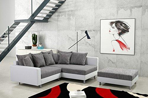 Küchen-Preisbombe Modernes Sofa Couch Ecksofa Eckcouch in weiss Eckcouch mit Hocker – Minsk R
